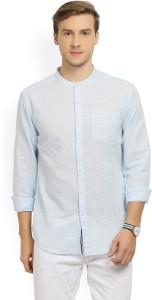 Locomotive Men's Striped Casual Mandarin Shirt