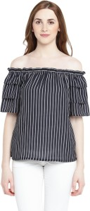 Honey By Pantaloons Casual Half Sleeve Striped Women's Blue Top