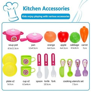 65add0befc99 Zest 4 Toyz Role Play Kitchen Playset Toy Kids Pretend Cooking Kit Food  Pink Set Xmas Gift for Children 3 Years Old