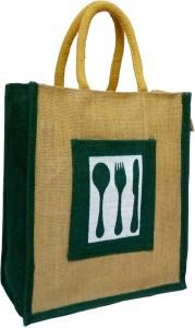 styles creation Cutlery Print Designer Dark Green Handicraft Jute Lunch Tiffin Handbag Waterproof Lunch Bag