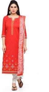 Kvsfab Cotton Embroidered Salwar Suit Dupatta Material Un stitched