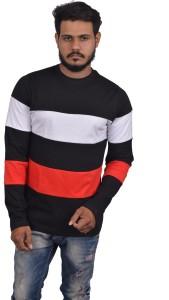 Roden Self Design Men's Round Neck Black T-Shirt