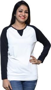 Chauhan Solid Women's Round Neck Black, White T-Shirt