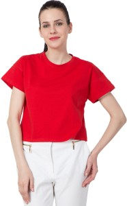 American-Elm Casual Half Sleeve Solid Women's Red Top