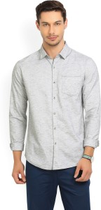 Locomotive Men's Self Design Casual Spread Shirt