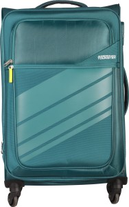 American Tourister Stirling Spinner Soft Trolley 65 cm (Teal) Expandable  Check-in Luggage - 26 inch