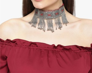 ae7de918935522 NAWAB Nawab long afgani boho art silver oxidised choker necklace- red Alloy,  Brass Choker