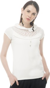 Arv Fashion Casual Short Sleeve Solid Women's White Top