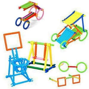 Sanyal Colorful Plastic Educational Stick Assembly Blocks Game, Recognise Colore, Shape and Different Model to Build by Kids