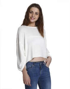 Only Casual 3/4th Sleeve Striped Women's White Top