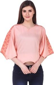 Skizo Casual Batwing Sleeve Printed, Solid Women's Pink Top