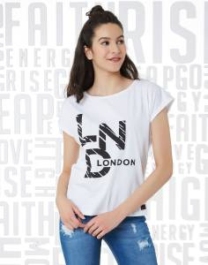 Metronaut Casual Short Sleeve Graphic Print Women White Top