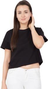 Haoser Casual Half Sleeve Solid Women's Black Top