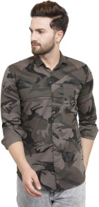Pacman Men Military Camouflage Casual Multicolor Shirt