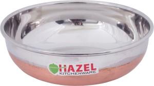 Hazel Alfa Premium Heavy Gauge Stainless Steel Tasra with Copper Bottom (1 ltr), Silver & Copper Kadhai 1 L