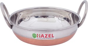 Hazel Alfa Premium Heavy Gauge Stainless Steel Kadai with Copper Bottom (1 ltr), Silver & Copper Kadhai 19 cm