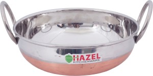 Hazel Alfa Premium Heavy Gauge Stainless Steel Kadai with Copper Bottom (1.5 ltr), Silver & Copper Kadhai 21 cm