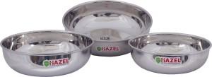 Hazel Alfa Premium Heavy Gauge Stainless Steel Tasra Set of 3 Pc (1 ltr, 1.5 ltr, 1.8 ltr), Silver Kadhai 23 cm