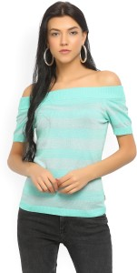 United Colors of Benetton Casual Half Sleeve Striped Women's Green, Silver Top