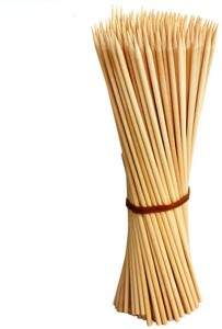 Jamboree kebab stick, roast stick, Bamboo Skewers Chocolate Fountain Wooden Fruits BARBECUE Kebab Stick Party Buffet Food Disposable Wooden Roast Fork Set (Pack of 100) Disposable Bamboo Roast Fork Set