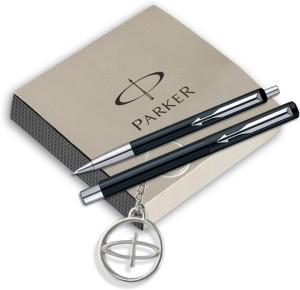 Parker Vector Standard Roller Ball pen +Ball pen Black body with free Parker Key Chain Pen Gift Set