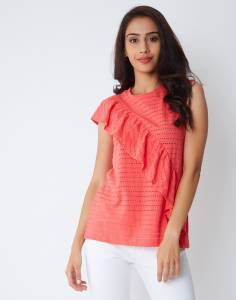 Provogue Casual Sleeveless Solid Women Pink Top