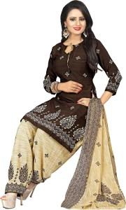 Ratnavati Crepe Printed, Solid Salwar Suit Dupatta Material Un stitched
