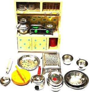 HALO NATION Kitchen Set Indian Non Toxic with wooden Stand and SS Utensils  for kids