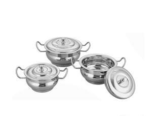 bartan hub Kitchen Handi Set With Lid (3pcs, stainless steel ) Cookware Set