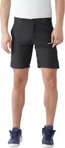 2GO Solid Men Black Sports Shorts
