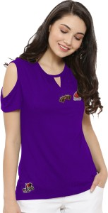 So Sweety Solid Women's Round Neck Purple T-Shirt