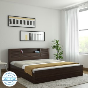 HomeTown Bali Bolton Engineered Wood King Box Bed Finish Color    Wenge