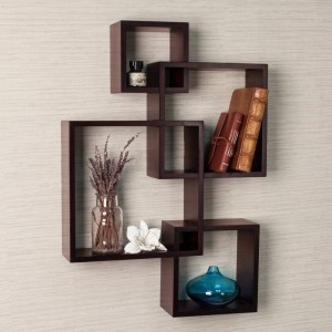 DriftingWood Wooden Intersecting Wall Shelves For Living Room | Brown Wooden Wall Shelf