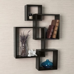DriftingWood Wooden Intersecting Wall Shelves For Living Room   Black Wooden Wall Shelf