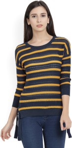 United Colors of Benetton Casual 3/4th Sleeve Striped Women's Yellow, Blue Top