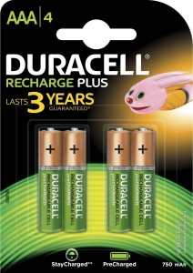 Duracell Plus A A A   4 Pcs   750 mAh  Battery Pack of 4