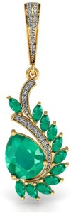 Vannajewels Floral Jewelry 18kt Emerald, Diamond Yellow Gold Pendant