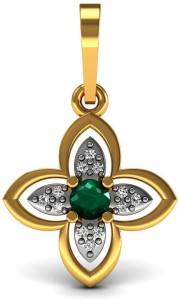 Vannajewels Floral Jewelry 18kt Emerald, Diamond Yellow Gold Pendant
