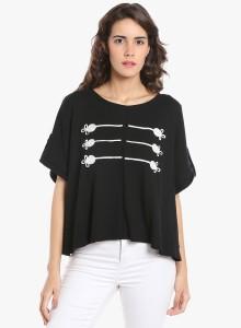 Vero Moda Casual Half Sleeve Embroidered Women Black Top