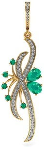 Vannajewels Floral Jewelry 14kt Emerald, Diamond Yellow Gold Pendant