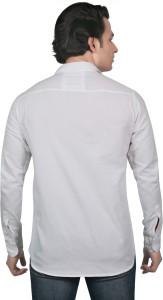 meraki Men's Solid Casual White Shirt