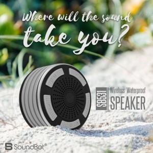 SoundBot SB531 IPX7 Water Resistant with FM Radio and LED 5 Bluetooth  SpeakerGrey, Mono Channel