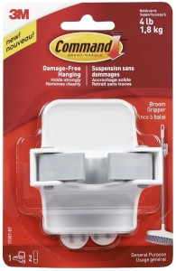 3M Command Command™ Broom Gripper -1 hooks, 2 strips 1 - Pronged Hook