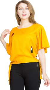 clothvilla Casual Butterfly Sleeve Solid Women's Yellow Top