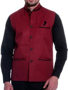 BIS Creations Sleeveless Self Design Men's Jacket