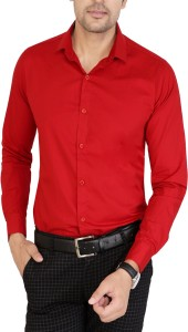 U TURN Men's Solid Casual Red Shirt