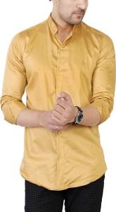 U TURN Men Solid Casual Beige Shirt