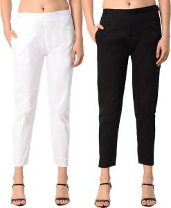 PAMO Regular Fit Women White, Black Trousers