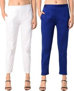 PAMO Regular Fit Women's White, Blue Trousers