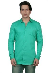 meraki Men's Solid Casual Ribbed Collar Shirt